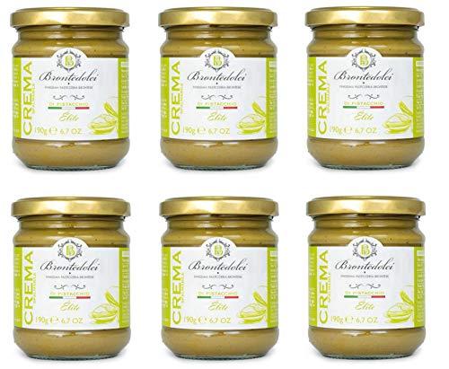 Brontedolci Crema Spalmabile di Pistacchio Elite - Crema de pistacho (6 unidades, 190 g, en vidrio de Sicilia con 40,5% pistacho)