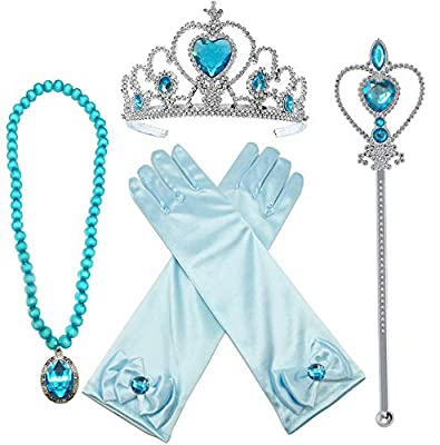 Alead Elsa Princess Dress Up Accessories Gloves Tiara Crown Wand Necklaces Presents for Kids Girls