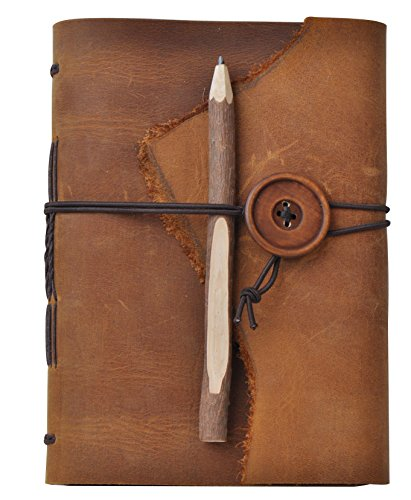 A Lazy Dog Leather Journal Notebook Antique Handmade Leather Daily Notepad with Wood Button Light Brown