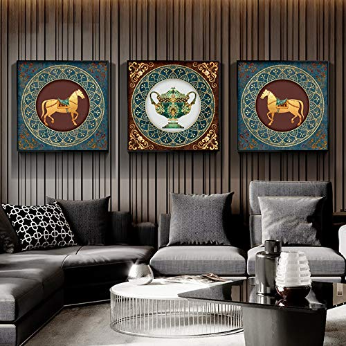 YZYZYZ Madaochenggong - Juego de 3 piezas de pintura de diamantes decorativos para pared, sin marco, pintura para sala de estar, entrada, cuadrado, 5D, para casa, 3 unidades (tamaño: 60 x 60 cm)