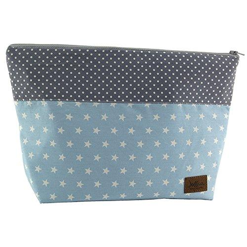 Wickeltasche, Reisebeutel, Kulturtasche, Punkte blau grau ❤ SmukkeDesign NEU