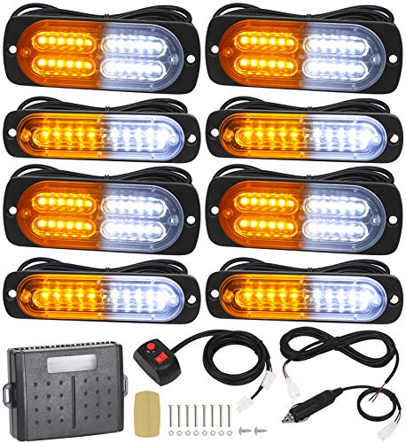 Linkitom 8pcs Ultra Slim Sync Feature Car Truck Surface Mount Emergency Hazard Warning Strobe light with Strobe Controller and Wiring Harness (Amber & White)