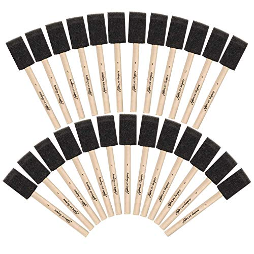 Academy Art Supply - 25 Piece Value Pack of 1 Inch Wide Foam / Sponge Paint Brushes