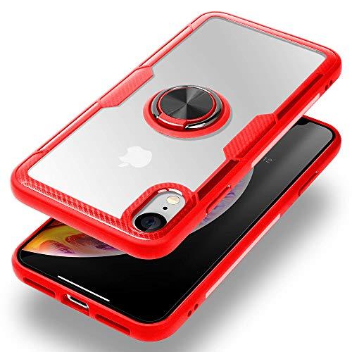 Caler magnétique Support de Voiture Coque pour Oneplus 6T avec Bague Béquille Fonction,Transparente PC de Protection avec Carbone Pare-Chocs Silicone Protection de Coussin d'air(Rouge)