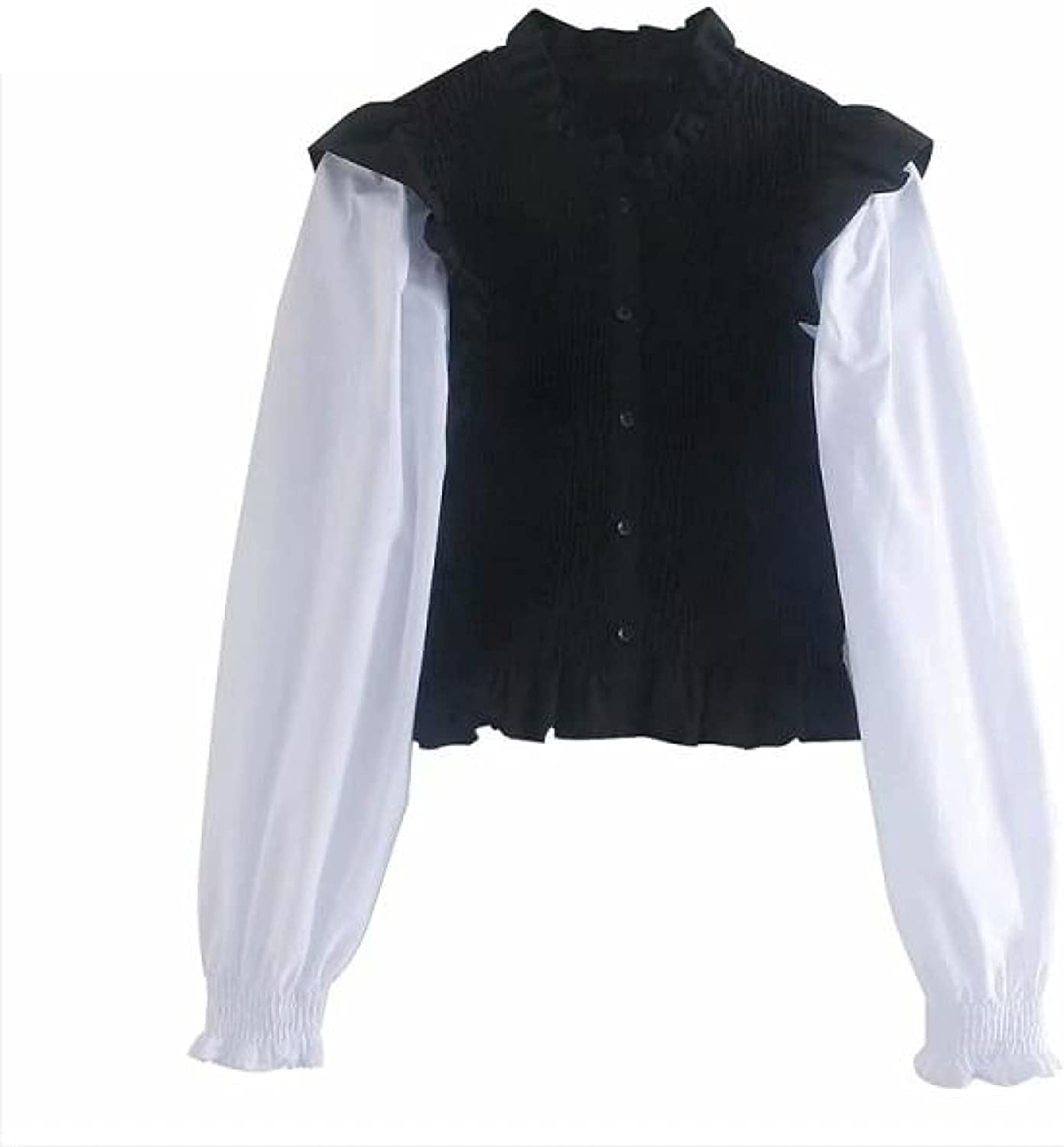 Vintage Puff Sleeve Wholesale Patchwork Elastic Blouse L Office SEAL limited product Smock Slim