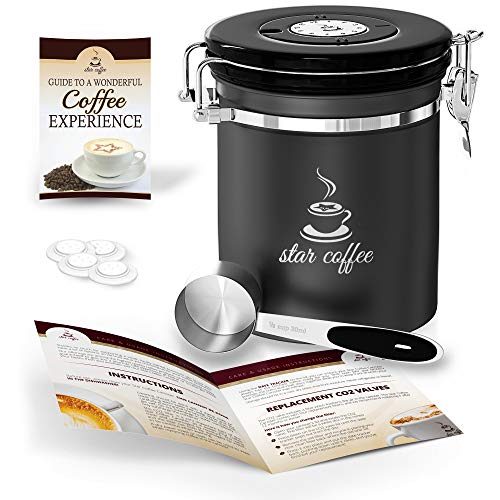 Star Coffee Container Airtight Coffee Storage - Stainless Steel Canister with Measuring Scoop for Beans or Ground...