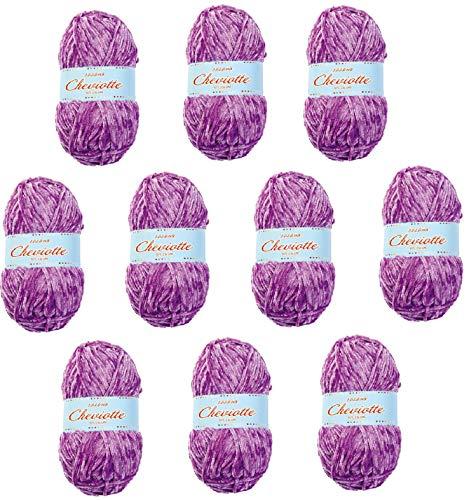 Hilo de chenilla aterciopelada para Tejer Punto Crochet o Ganchillo CHEVIOTTE de TORRIJO 85g (10 unidades * 85g)   Color 12652-MORADO