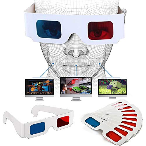 Gafas 3D, Senteen 60pcs Gafas 3D Carton Anaglifo Gafas Mágico Gafas Anaglíficas, Anáglifo Rojo y Cian, Marco De Cartón Blanco, para Viajes y Película Decoración (Viene con 20 Bolsas De Embalaje)