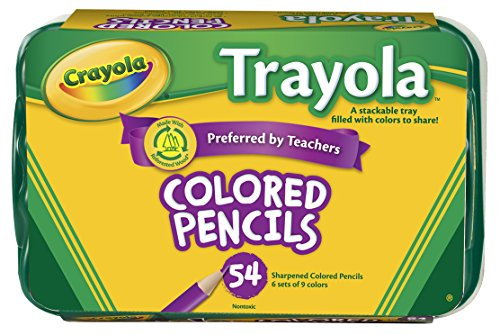 Crayola 54ct Colored Pencil Set, 6 Sets of 9 Most Popular Crayola Colors
