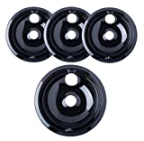 "Kitchen Basics 101 Porcelain Drip Pans (3) 6"" WB31M20, (1) 8"" WB31M19 Replacement for GE P119204XZ Style B Black"