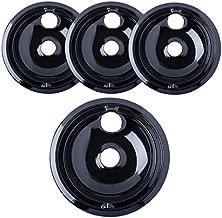 "Kitchen Basics 101 Porcelain Drip Pans (3) 6"" WB31M20, (1) 8"" WB31M19 Replacement for GE P119204XZ Style B Black"