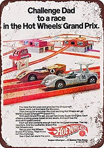 Tomlinsony Letrero de metal con diseño retro de Challenge Dad Hot Wheels Grand Prix de 1969 con aspecto vintage, 20 x 30 cm