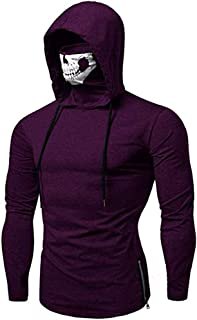 Men's Sports Hooded Pullover Cool Mask Skull Hoodie Zip Side Casual Pullover Long Sleeve Tops