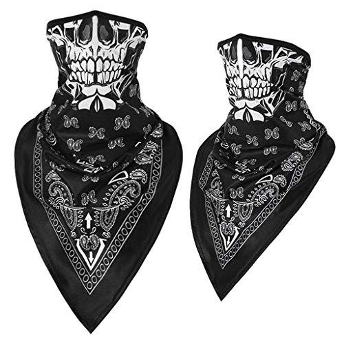 riou Face Shield Skull Bandana Multifunktionstuch Motorrad Winddicht Nahtloses Totenkopf Neckwarmer (Black)