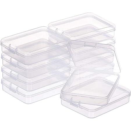 Caja de Pl/ástico Transparente Rectangular para Cuentas Peque/ñas afdg Mini Caja de Pl/ástico Transparente 20 Caja Peque/ña con Tapa Abatible Joyas y Otros Objetos Peque/ños