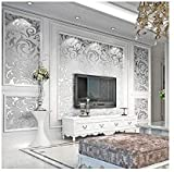 3D Silver Wallpaper Decor, Damask Wallpaper for Bedroom, Modern Non-Woven Silver Flower Pattern Wallpaper Home Decor Wallpaper for Living Room and TV Background, Need Glue and Wallpaper Powder