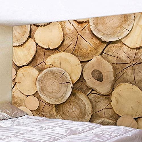 Tapiz geométrico de grano de madera Luminoso psicodélico colgante de pared Anime lobo tapiz estilo...