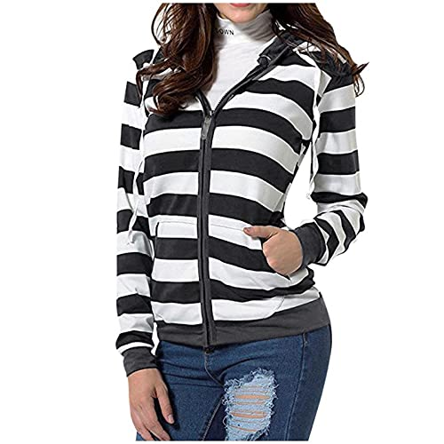 Womens Hooded Sweatshirts,Nulairt Women's Stripe Print Long Sleeve Zip Up Hoodies Casual Lightweight Jacket with Pocket Black