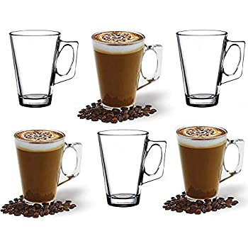 ANSIO Large Latte Glass Coffee Cups 385ml (13 oz) Gift Box of 6 Latte Glasses Compatible with Tassimo Machine (6 Pack)