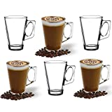 ANSIO Large Latte Glass Coffee Cups - 385ml (13 oz) - Gift Box of 6 Latte Glasses - Compatible with Tassimo Machine (6 Pack)