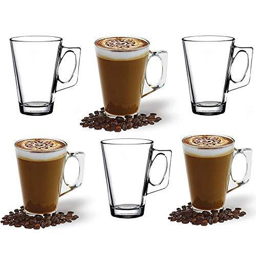 ANSIO Grandes Tasses à café Latte en verre-385ml (13 oz)-Coffret Cadeau de 6 Verres Latte-Compatible avec la Machine Tassimo (Pack 6)
