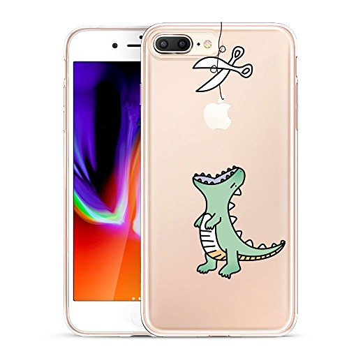 Unov Compatible Case Clear with Design Embossed Pattern TPU Soft Bumper Shock Absorption Slim Protective Case for iPhone 7 Plus iPhone 8 Plus 5.5 Inch (Dinosaur)