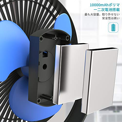 OPOLAR充電式クリップ扇風機大容量10000mAh電池内蔵卓上扇風機風量4段階調整MicroUSB・type-C端子搭載スマート急速充電対応17cm大型ファン搭載デスク・リビング・野外などブルー