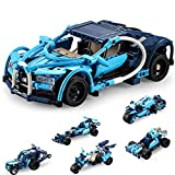 Kids Stem Building Toys for 6 - 10+ Year Old Boys Girls, Model Cars Kits to Build for Kids Adults Teens Collectible Pull Back Blue Phantom Sports Car 6 in 1 509Pcs Building Blocks Car