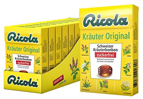 Ricola Kräuter Original, Schweizer Kräuterbonbon, 10 Böxli à 50g, ohne Zucker, Wohltuend für Hals und Stimme