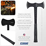 Estwing Double Bit Axe - 38 oz Wood Spitting Tool with Forged Steel Construction & Shock Reduction Grip - EBDBA,Black 10 FORGED STEEL CONSTRUCTION – Maximum strength and durability for a lifetime of hard work OUTDOOR VERSITILITY - Perfect for chopping logs, small trees & branches or splitting firewood & kindling HEAVY DUTY SHEATH - Includes ballistic nylon sheath to protect hand sharpened cutting edge