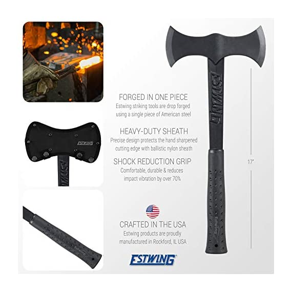 Estwing Double Bit Axe - 38 oz Wood Spitting Tool with Forged Steel Construction & Shock Reduction Grip - EBDBA,Black 5 FORGED STEEL CONSTRUCTION – Maximum strength and durability for a lifetime of hard work OUTDOOR VERSITILITY - Perfect for chopping logs, small trees & branches or splitting firewood & kindling HEAVY DUTY SHEATH - Includes ballistic nylon sheath to protect hand sharpened cutting edge