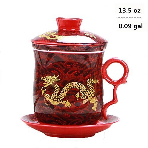 Set von Teetasse mit Teesieb, Deckel und Untertasse, chinesisches Drachenmuster, 4 Farben, aus chinesischem Porzellan, persönliche Teetasse, 400 ml rot