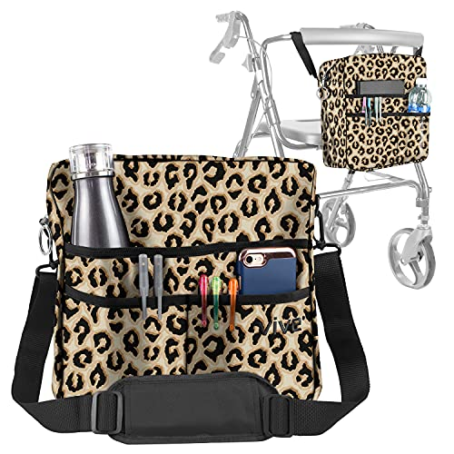 Rollator Bag by Vive - Universal Travel Tote for Carrying Accessories on Wheelchair, Rollator, Rolling Walkers & Transport Chairs - Lightweight Handicap Medical Mobility Aid (Leopard)