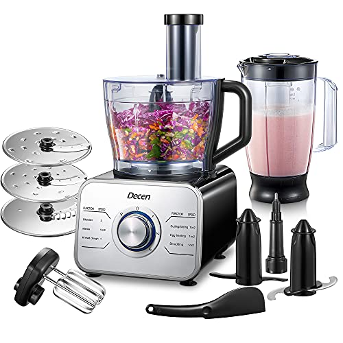 Decen Food Processor Multifunctional, 1100W Blender Food Processor with 3 Speed Setting and LED...