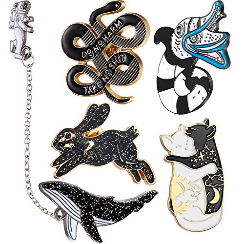 WILLBOND 5 Pieces Enamel Lapel Pin Set Skeleton Rabbit Brooch Cat Snake Pattern Pins Astronaut Whale Badge with Chains