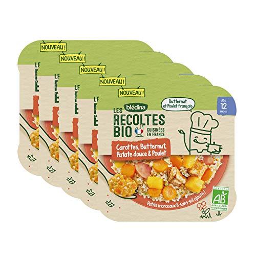 Blédina les Récoltes Bio Cocotte de Carottes / Butternut / Patate Douce / Poulet – petit plat bébé bio dès 12 mois - Pack de 5