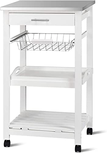 discount Giantex Kitchen 2021 Island Cart Rolling Kitchen Trolley outlet online sale with Stainless Steel Tabletop Utility Storage Cart Restaurant Hotel Serving Cart with Casters, Drawer, Basket and Shelf (White) online sale