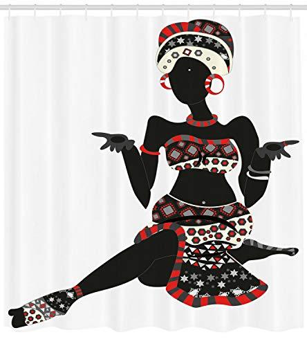 123456789 Afrikaanse vrouw douchegordijn etnische jurk Lady Print voor badkamer