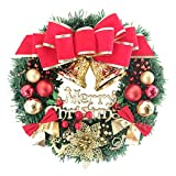 YeahiBaby corone Natalizie con Palline di Natale Campanelle Natalizie Fiocco Merry Xmas 40cm
