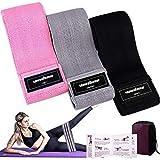 Bandas Elasticas Gluteos Musculacion, 3 Piezas Cintas Elasticas Musculacion para Piernas/Glúteos/Muslo,Bandas de Resistencia para Hombres Mujeres Pilates Yoga y musculación (Pink/Gray/Black)