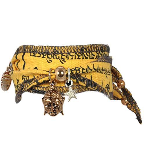 Anisch de la Cara Damen Armband Earth Buddha - Tibetan Wish Wunscharmband aus tibetischen Gebetsfahnen - tibetisches Glücksarmband - ArtNr. 3330-y