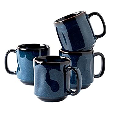 Tuxton Home Artisan Night Sky Blue Mug 12 Oz. Reactive Glaze - Set of 4; Heavy Duty; Chip Resistant; Lead and Cadmium Free; Freezer to Oven Safe up to 500F