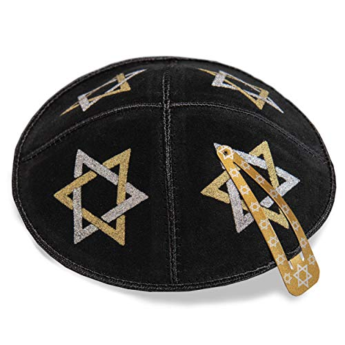 16 cm cuero judío negro Kipa Kippah Yarmulke Synagogue Star Of David Design