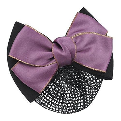 Barrette Nœud Papillon pour Femme Snood Net Coiffure Hair Bun Cover, Violet
