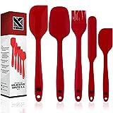 K-Brands Juego de Espátulas de Silicona de Cocina - Resistente al Calor y Antiadherentes con Núcleo de Acero Inoxidable Para Cocinar, Hornear y Mezclar (5 Piezas), Color Rojo