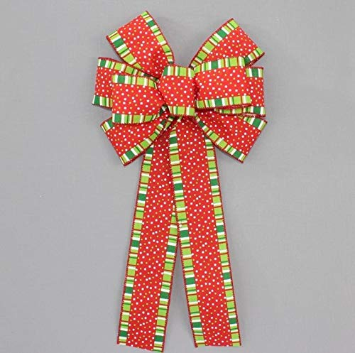 8' x 16' Bow Only boB Whimsical Dot Stripes Wreath Bow - Wreath Bow, Bow, Wreath Bow