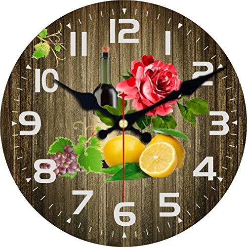VIKMARI - Reloj de Pared para el hogar de 14 Pulgadas, números árabes, fáciles de Leer, Relojes Redondos, Que Funcionan con Pilas, Que no Hacen tictac, para Sala de Estar decoración (Fruta y Vino)