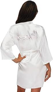 带水钻的阿拉伯新娘缎长袍 - 及膝长度