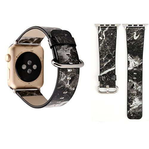 Elektronische smartwatch + Apple Watch Series 3 & 2 & 1 38 mm Fashion Marmer Texture Veine polshorloge lederen armband (zwart), Zwart