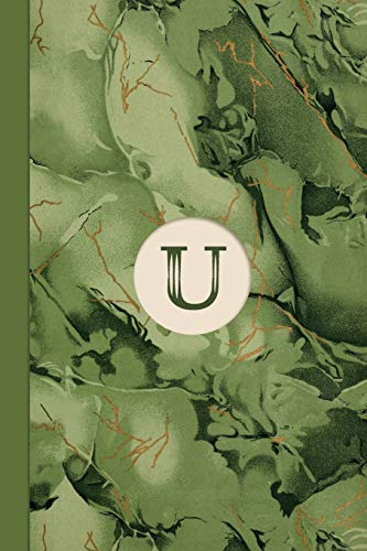 Monogram U Marble Notebook (Leafy Green Edition): Blank Lined Marble Journal for Names Starting with Initial Letter U (Marble Notebooks Leafy Green)